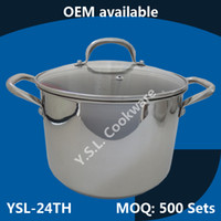 Wholesale Free Shipment Chef s Classic QT Stockpot with Glass Cover Stylish Multi layer Base Shiny Finished Stainless steel cookware Induction Ready