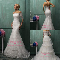2014 Amelia Sposa Strapless Lace Mermaid Wedding Dresses Fal...