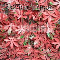 Wholesale 48pcs x25cm artificial flower red maple leaves mat fake fencing for outdoor DIY garden decoration G0602A010B