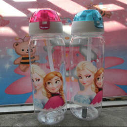 Wholesale High Quality drinkware children cups Frozen Anna and Elsa PPTexture Suction Cups Kids Cartoon Water Bottle Sports Bottle