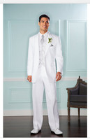 Cheap 2015 New Arrive Fashion Designed Handsome White Wedding Suits For Men Light Grey New Groom Suits High Quality Best Man Business Suits