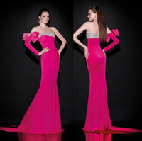 Model Pictures Crew Ployester Newest 2015 Tarik Ediz Evening Dresses With Sheer Neck Beaded One Long Sleeve Sweep Train Sexy Fuchsia Elegant Prom Pageant Party Gowns