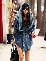 Wholesale Fashion Women Lady Denim Trench Coat Hoodie Hooded Outerwear Jean Jacket Cool