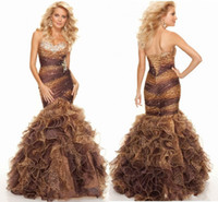 leopard print prom dress - Unique Design Long Length Sweetheart Off The Shoulder Ruffles Tiered Leopard Print Crystals Evening Gown Party Dress Mermaid Prom Dresses