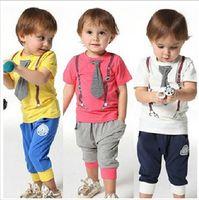 Boy Summer Short Fashion Summer Children Clothing Set Fashion Tie T shirt + Harem Pants 2pcs Boy Casual Tracksuit Kids Suit Baby Sets M1251