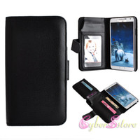 Cheap Samsung Note 3 Fashion litchi Pattern Double Dual Layer Card Slots Photo Frame Wallet Flip PU leather Case Cover For Galaxy note 3 N9000