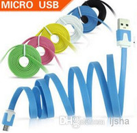 Dual Color V8 Flat Micro USB Cable Noodle Charger Cord Unive...