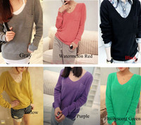 Wholesale Korean Autumn Women Pullover Sweater V Neck Pocket Solid Fashion Knit Sweater For Lady