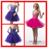 Reference Images Tulle Sweetheart 2015 Fashion Purple Hot Pink Corset New Homecoming Cocktail dresses Crystal Tulle Ruffles Colorful Short Mini Prom Evening Dress Gown Custom