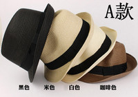 Wholesale Retail Unisex New Summer Women Men Jazz Beach Hat Straw Hat Straw Knitted Hat Caps Accessories Black Beige Black Coffee K0887