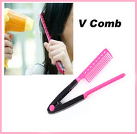 Wholesale Newest Salon Styling Hairdressing Hair Straightener DIY Salon Hairdress Styling Hair Beauty Care Straightener V Comb Makeup Tool