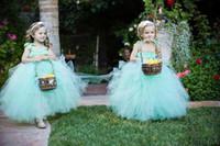 Cheap Lovely Elva Blue Flower Girl Dresses Spaghetti Straps Floor Length Ball Gown Satin Sash Little Girl Flower Girl Dress For Wedding
