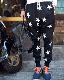 Wholesale Retail Hot Men s Clothing Men Long Star Harem Casaul Trousers Men s Hip Hot Star Printed Sweatpants Drop Crotch Baggy Pants Black Blue M1069