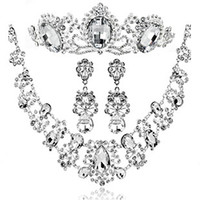 Cheap Wholesale - Fashion Jewelry Sets Necklace Earrings Tiaras Set Wedding Accessories Sparkling Bling Jewelry Crystals Diamonds Bling