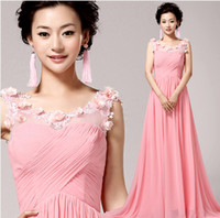 Model Pictures Sweetheart Organza Elegantpink chiffon mermaid Prom Dresses 2014 fashion appliques flower girl party dress . plus size dresses under $50 .5932custo