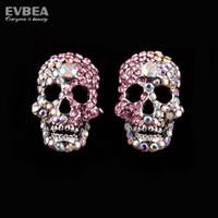 Wholesale Diamond Stud Earrings Colorful Flower Rhinestone Skull Skeleton Earrings stainless Steel Piercing Crystal earrings for fashion women