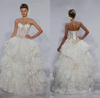 Ball Gown pnina tornai wedding dresses - Fashion Bridal Ball Gown Sweetheart Beaded Lace Bones See Through Corset Bodice Pearls Pnina Tornai Wedding Dresses