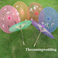 Wholesale inch Silk Wedding Parasols Bridal Chinese Umbrellas Sunshade Bridal Accessories Assorted Colors Flower Patterns Drop Shippinp
