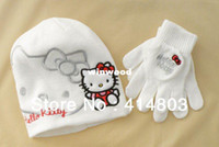 Wholesale KT Hats Y Kids Autumn Spring Hello Kitty Beanie Gloves PIECE Set Childrens Christmas Cap Colors sets
