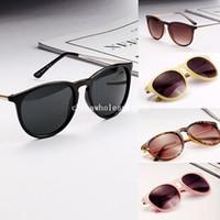 Wholesale Sun Glasses for Women Men Retro Round Eyeglasses Metal Frame Leg Spectacles Colors Sunglasses Freeshipping
