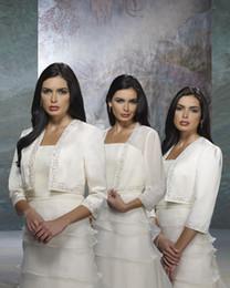 Wholesale Custom Three Quarter Long Sleeves Beaded Ivory Satin Chiffon Taffeta Wedding Dress Bolero Jacket Vest AJ23