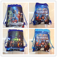 Wholesale 4 styles cartoon Avenger Union sided nonwoven fabric Drawstring Bag schoolbag handbags children s school bag C001