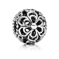 Crystal Circle Silver Wholesale 925 Sterling Silver Six Petals Overlapping Shaped Pandora Beads European Charm Fit Bracelets Snake Chain Jewelry