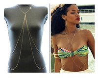 Wholesale Newest Fashion Rihanna Sexy Body Chain Bikini Chain K Gold Cross Tassel Chain Beach Body Jewelry