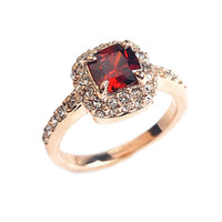 Wholesale biger Red simulated gemstone wedding Ring k gold plated finger rings women created Ruby jewelry