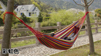 Cotten Color mixing Stripes EMS Free shipping multicolor indoor and outdoor supplies double hammock thicken canvas hammock outdoor hammock swing 200x150cm