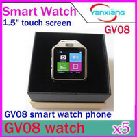 Wholesale DHL Best GV08 smart watch phone with Mp spy camera quot touch screen bluetooth new unlock watch mobile phone YX WT