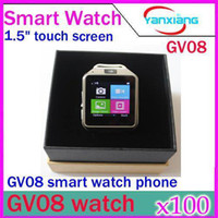 Wholesale DHL GV08 Quad band Ultra thin mobile watch phone with M spy camera quot touch screen bluetooth new unlock smart watch YX WT