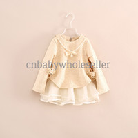 Wholesale 2015 Hot Sale Fashion Girl Dress Korean Style Chiffon With Neck lace Infant Dress For Children Wear Kids Clothes GD40822