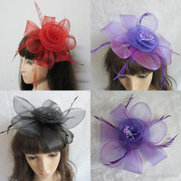 Wholesale Cheap Red Purple Black Cheap Flower Headwear Hair Accessories with Feather Fascinator Hat HeadPiece for Wedding Party Prom In Stock