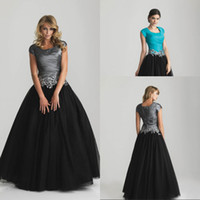 Reference Images Square Organza 2015New Fashion Modest A Line Aqua and Black Prom Dress with Sleeves Ball Gown Cheapest Evening Gowns Sexy Mother Of The Bridal Dresses