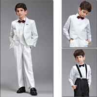 Suits pure gold - Boy suit the latest design gold buttons and bowknot adornment design pure white suit