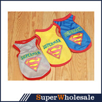 Wholesale Pet Dogs Ventilate Small Clothes T Shirt shirts Dress Mesh Vest Superman Type Clothing