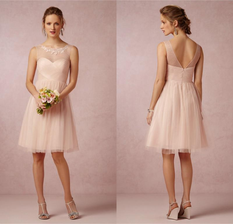 Sexy 2014 Bridesmaid Dresses Soft Peach Tulle Sheer Crew Neck A ...