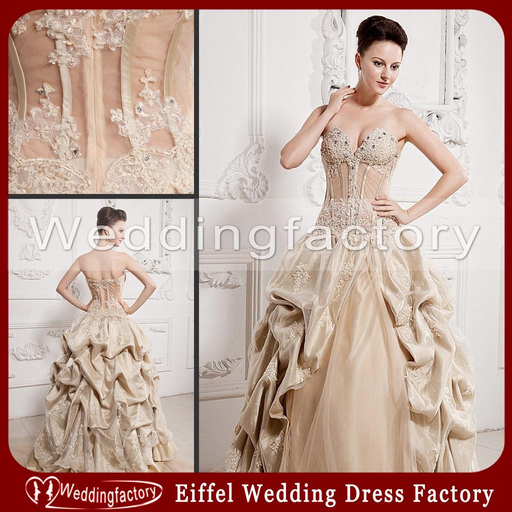 2014 vintage indonesia wedding dress champagne ball gown
