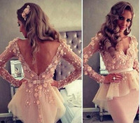 Reference Images Organza High Neck 2015 Long Sleeve Backless Short Evening Dress Open Back Short Prom Dress Party Dress With Embroidery Lace Appliques Homecoming Dress