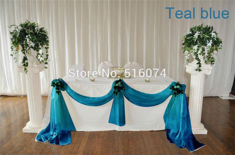 wholesale wedding supplies decoration 5meter width teal blue