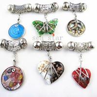 Wholesale Fashion DIY Mixed Jewellery Pendant Scarf Accessories Zinc Alloy Frame Charm Shiny Glass SJ012