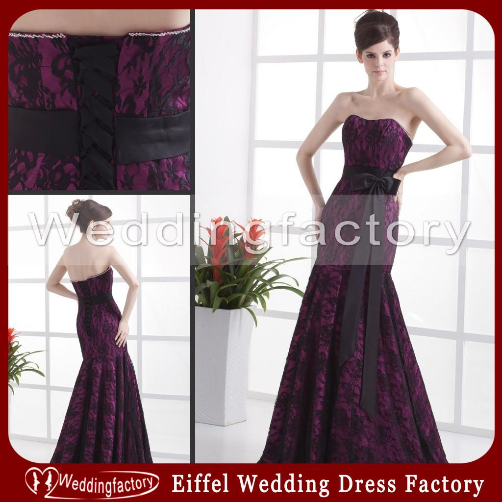 Purple And Black Lace Tie Dye Wedding Dresses Mermaid Strapless ...