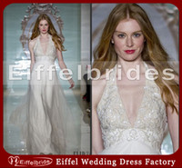 A-Line halter top wedding dress - 2014 New Sexy Chiffon Halter Top Beach Wedding Dresses with Glamorous Gorgeous Embroidery and Elegant A line Stunning Beach Bridal Gowns