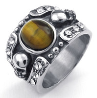 Wholesale Crafted Casting in Stainless Steel Tiger Eyes Stone Skull Ring