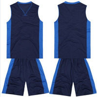Wholesale 2014 Adults Custom Basketball Jerseys Mens Sleeveless Sport Shirt Short Uniforms Dark Blue Sportswear able mix any color size