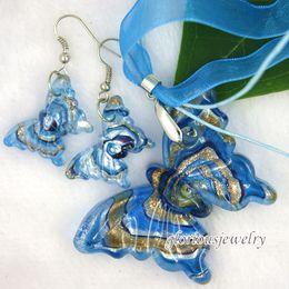 Wholesale butterfly murano glass pendant murano glass earring murano jewelry handmade set fashion love earring lampwork pendant cheap fashion jewelry