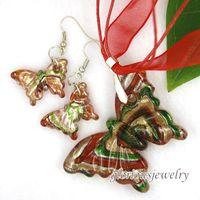Wholesale butterfly murano glass pendant murano glass earring murano jewelry handmade lampwork set fashion love earring