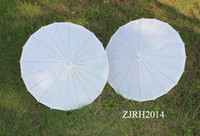 parasols - Wedding Umbrellas White Color Paper Parasols Handmade Straight Bamboo Parasol For DIY Painting Fans Parasols