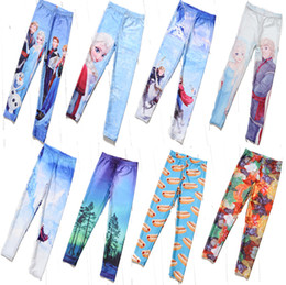Wholesale EAST KITTING New fashion Children s Frozen Printed Leggings baby girl pants kids clothing hot sale